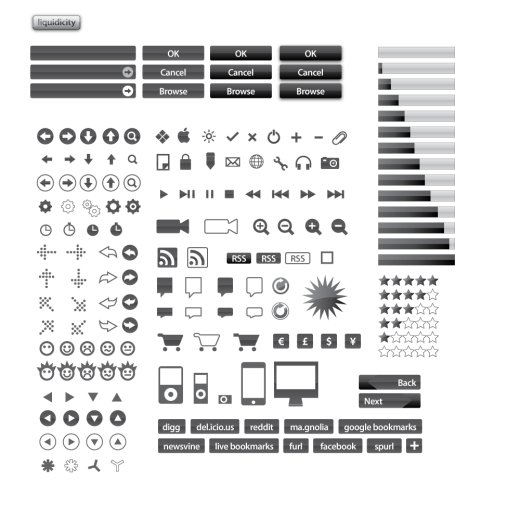 black vector icon set