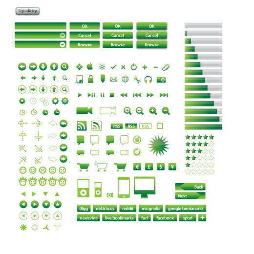 green vector icon set
