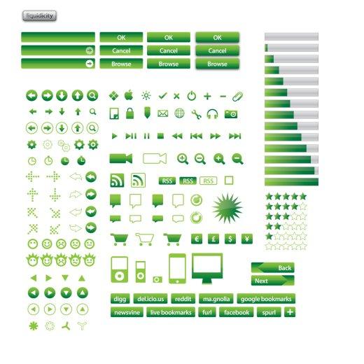 green vector icon set