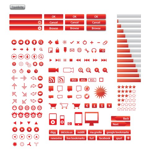red vector icon set